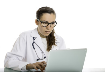 female doctor using a laptop