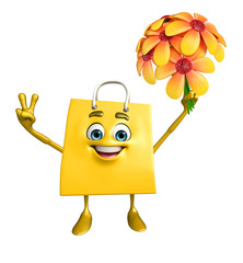 Shopping bag character with flower