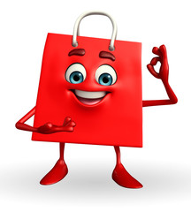 Shopping bag character with best sign