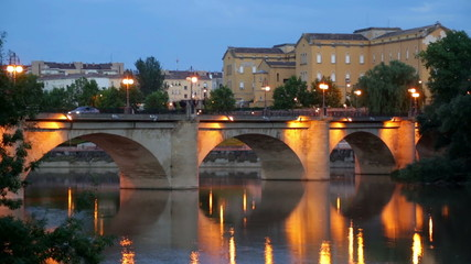bridge  over Ebro river in evening. Logrono, Spain