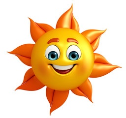 Sun Character is happy