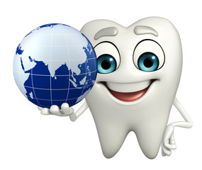 Teeth character with globe