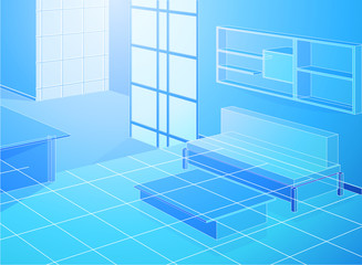Wireframe blue living room scene,interior background