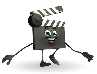 Clapper Board Character with walking pose