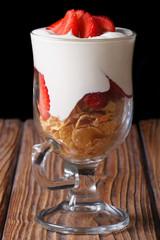 muesli with fresh strawberries and yogurt vertical. low key