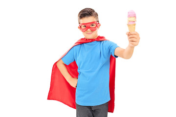 Junior in superhero costume holding an ice cream