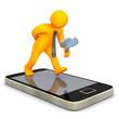 Businessman Loupe Smartphone