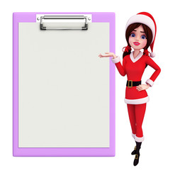 Santa Girl Character with notepad