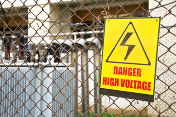 Danger high voltage warning sign