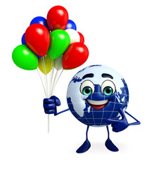 Earth Character with Balloon