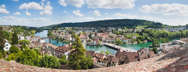 Panoramic view of Swiss town Schaffhausen. River Rhine.