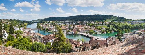 Leinwanddruck Bild Panoramic view of Swiss town Schaffhausen. River Rhine.