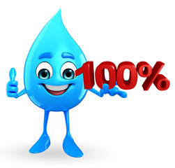 Water Drop Character with Percentage