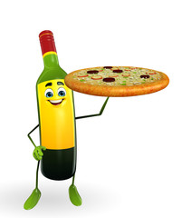 Wine Bottle Character with pizza