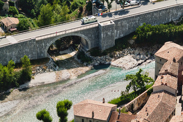 Aerial view of river and bridge. French town Entrevaux.