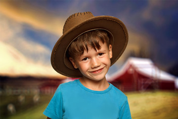 Little boy in cowboy hat