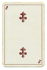 old playing card with number 2