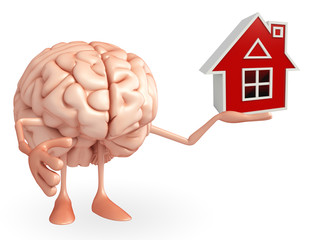 Brain Character with home