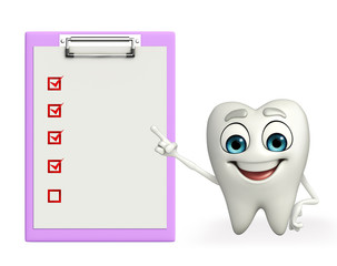 Teeth character with notepad