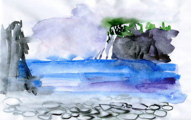 water landscape drawn