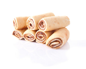 Rolled Yummy Cakes with Milky Cocoa Filling