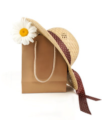 Straw Hat, Shopping Bag  and Daisy Flower