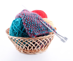 The set for knitting and the fabric