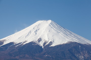 Top of mountain fuji with snow in winter season
