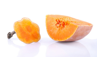 The section of ripe pumpkin fruit