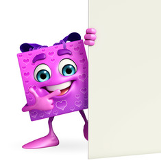 Gift Box Character with sign