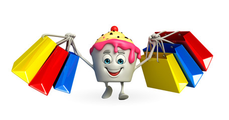 Ice Cream character with shopping bag