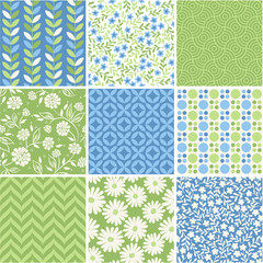 Seamless vector patterns set - summer floral backgrounds