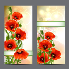Set of summer banners with Red Poppies