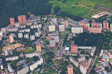 View from  plane on residential quarter of New Moscow, Russia