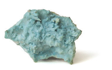 Blue aragonite covered with celadonite. 8cm across.