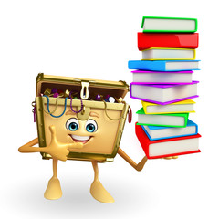 Treasure box character with Books pile