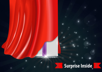 surprise gift box with red curtain design template- vector eps10