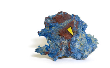Green Sillenite (indicated) on blue Shattuckite. 2.3cm across.