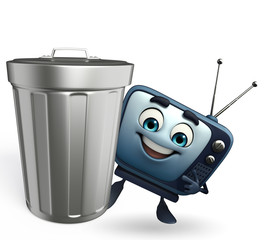 TV character with dustbin