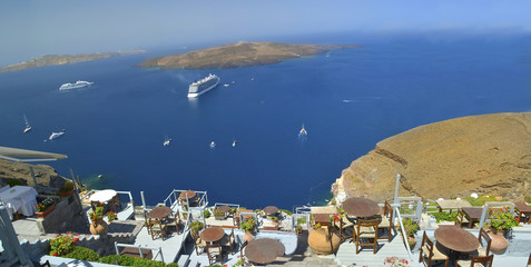 santorini - tourist resort - tables