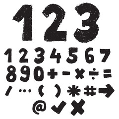 hand drawn number and symbol black and white