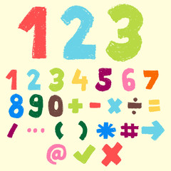 hand drawn colorful number and symbol