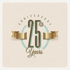 Vintage Anniversary type emblem with golden ribbon