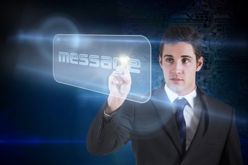 Businessman pointing to word message