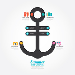 infographics vector anchor design summer concept diagram line .