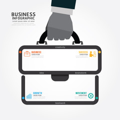 infographics vector businessman hand hold business bag design.