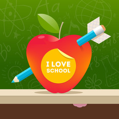 I love school - illustration with apple pierced by a pencil