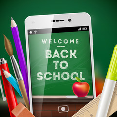 Back to school - illustration with smartphone and stationery