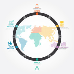 infographics vector world business concept design diagram line.