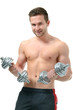 Athletic young  man doing exercises with dumbbells